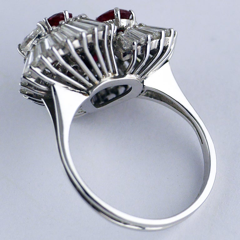 Natural Untreated Ruby Diamond Heart Cluster Ring, 1975 10