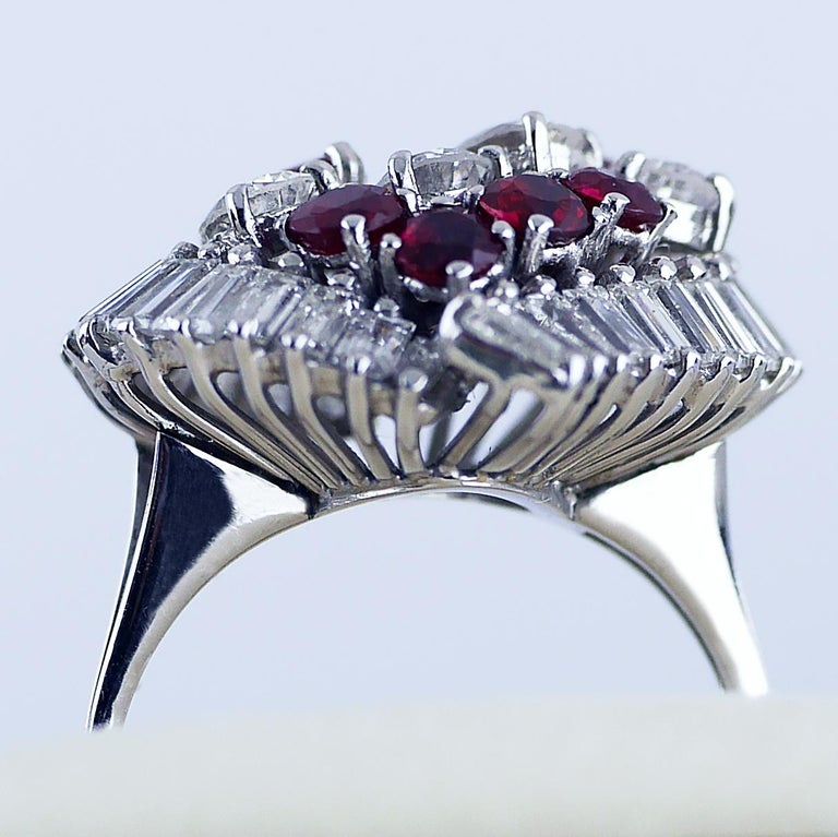 Natural Untreated Ruby Diamond Heart Cluster Ring, 1975 12