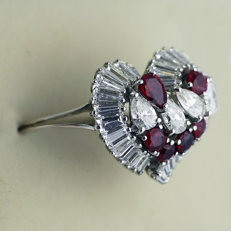 Natural Untreated Ruby Diamond Heart Cluster Ring, 1975 2