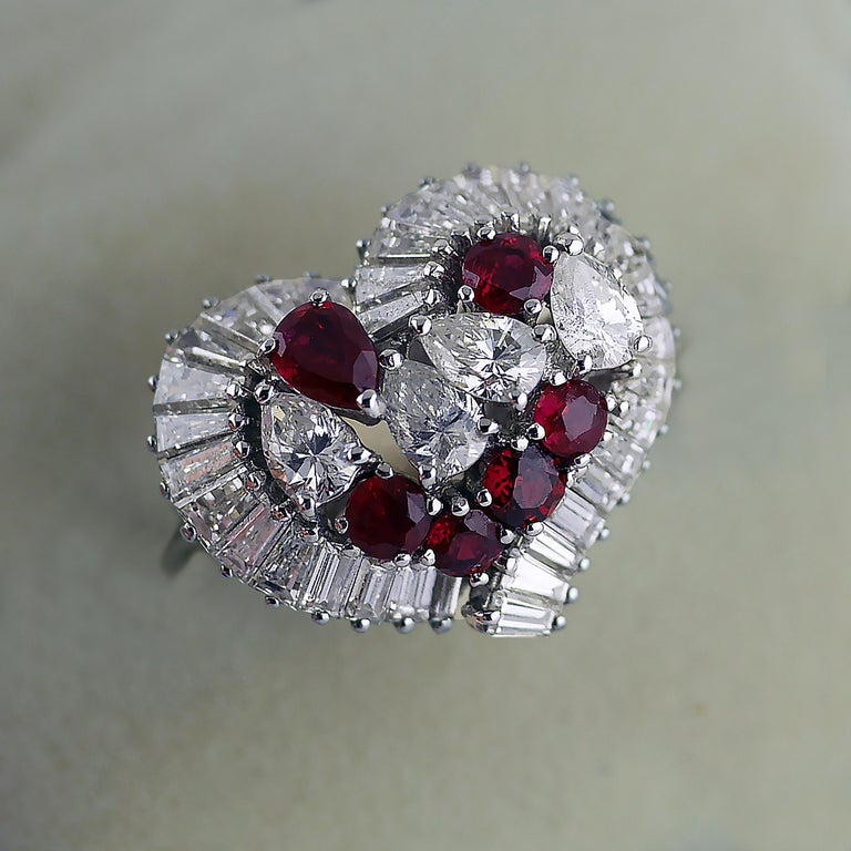 Natural Untreated Ruby Diamond Heart Cluster Ring, 1975 3