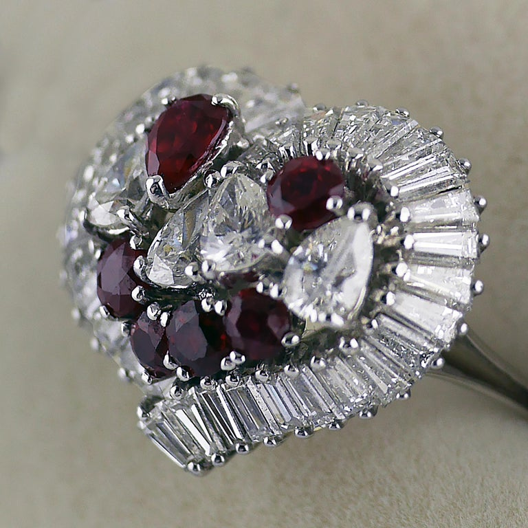 Natural Untreated Ruby Diamond Heart Cluster Ring, 1975 4