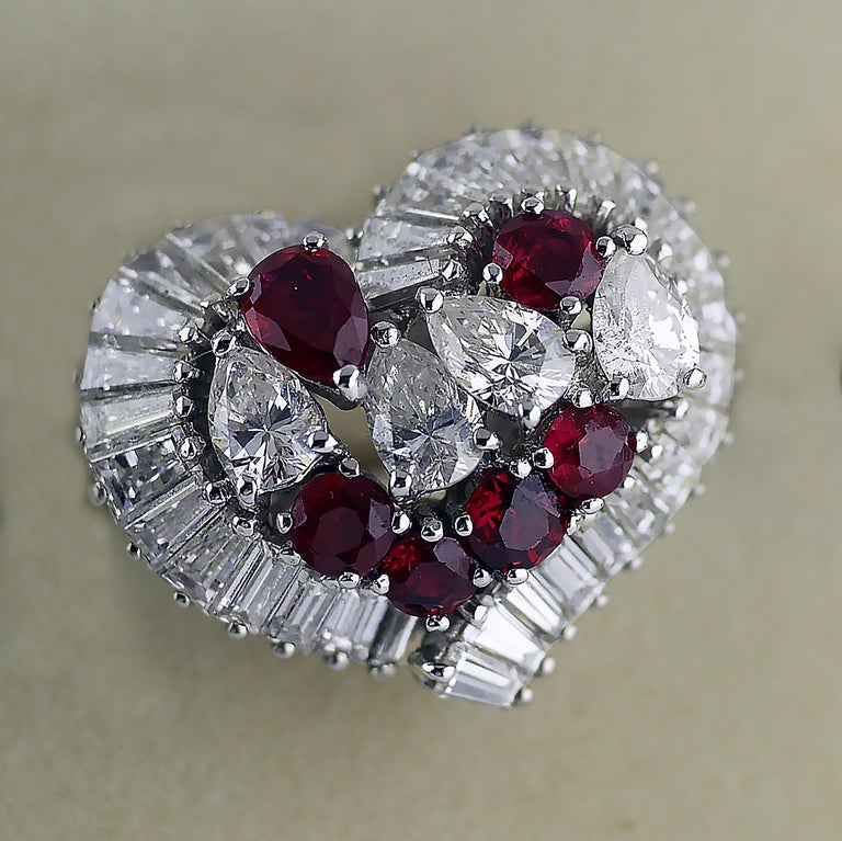 Natural Untreated Ruby Diamond Heart Cluster Ring, 1975 5