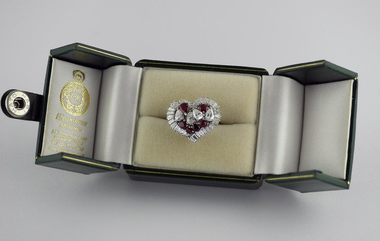 Natural Untreated Ruby Diamond Heart Cluster Ring, 1975 6