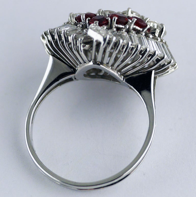 Natural Untreated Ruby Diamond Heart Cluster Ring, 1975 9