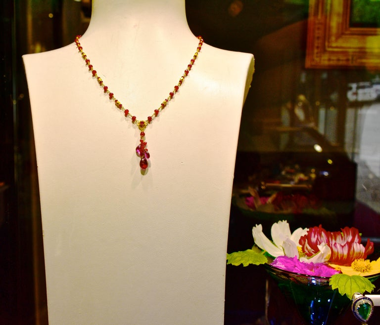 Women's or Men's Gold Necklace, 22 Karat, with Rubies and Suspending Pink Tourmalines For Sale