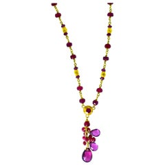 Gold Necklace, 22 Karat, with Rubies and Suspending Pink Tourmalines