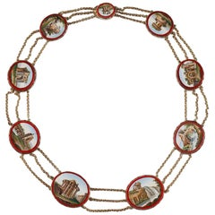 Gold Necklace with Micomosaic