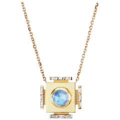 Gold Necklace with Moonstone and Diamonds ARK Fine Jewelry
