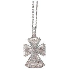 Gold Necklace with Platinum Diamond Cross Pendant
