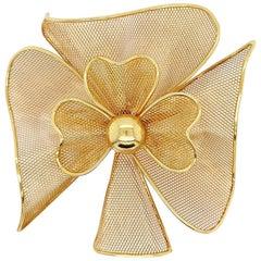 Gold Net Flower Brooch