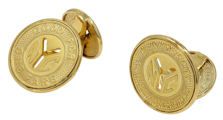 Unique double-sided cufflinks:  NYC subway tokens, engraved