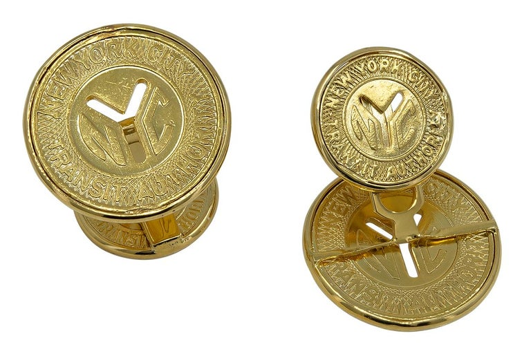 Men's Gold New York City Subway Token Cufflinks For Sale