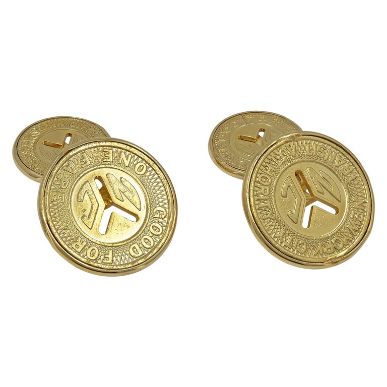 Gold New York City Subway Token Cufflinks For Sale