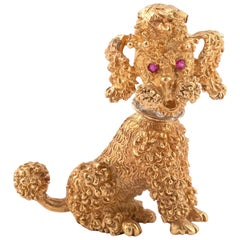 Gold Novelty Poodle Brooch
