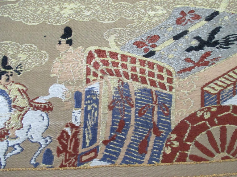 Mid-20th Century Gold Obi Textile with Street Scene with Chariot For Sale