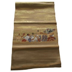 Gold Obi Textile with Street Scene with Chariot