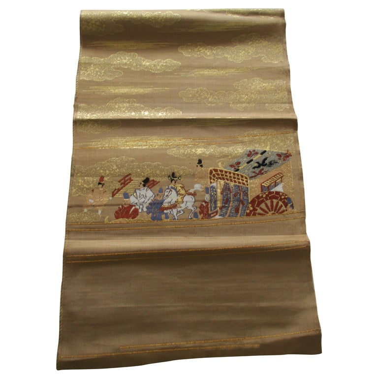 Gold Obi Textile with Street Scene with Chariot For Sale