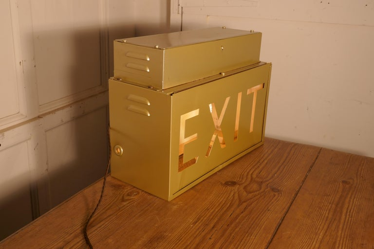 Art Deco Gold Odeon Cinema Exit Sign Electric Light  For Sale
