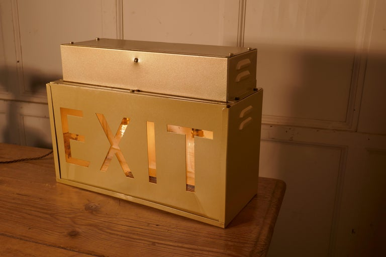 Gold Odeon Cinema Exit Sign Electric Light  In Good Condition For Sale In Chillerton, Isle of Wight