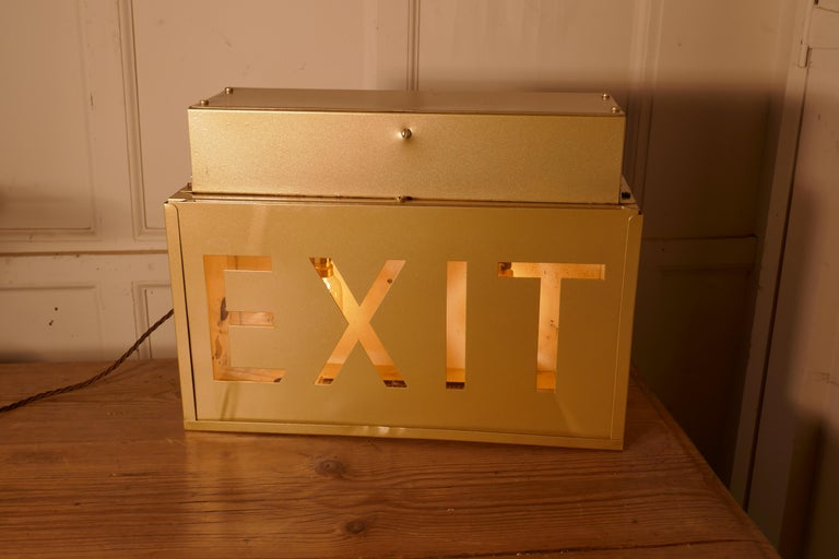 Gold Odeon Cinema Exit Sign Electric Light  For Sale