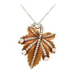 Gold Old European Cut Diamond Leaf Brooch Pendant