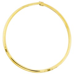 Gold Omega Choker Necklace 14 Karat Yellow Gold Omega Necklace