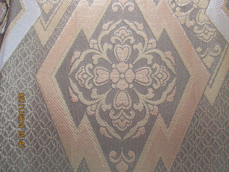 Gold on gold geometric pattern vintage obi textile. Heavy woven silk and silver metallic threads. Ideal for pillows or upholstery. Size: 11