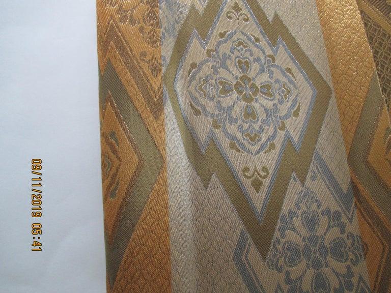 Japonisme Gold on Gold Geometric Pattern Vintage Obi Textile For Sale