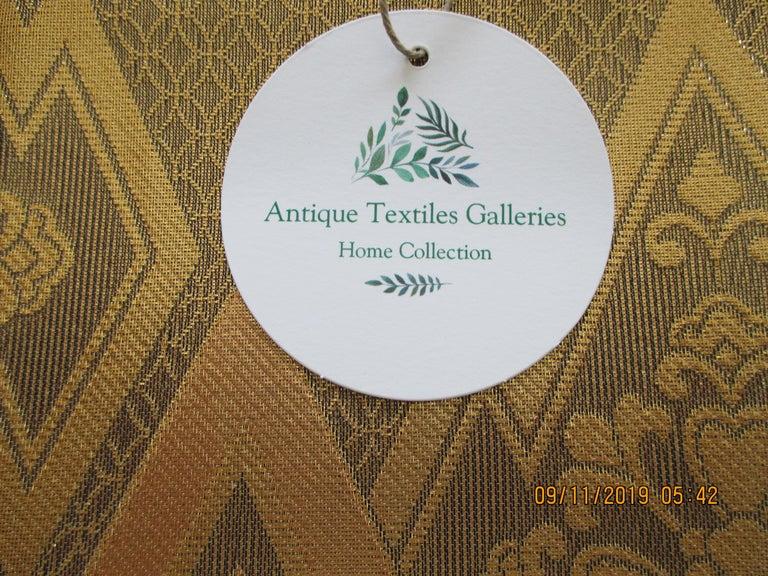 Japanese Gold on Gold Geometric Pattern Vintage Obi Textile For Sale