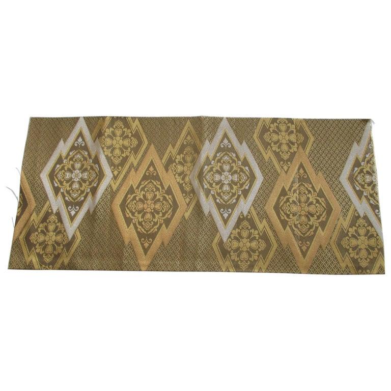 Gold on Gold Geometric Pattern Vintage Obi Textile For Sale