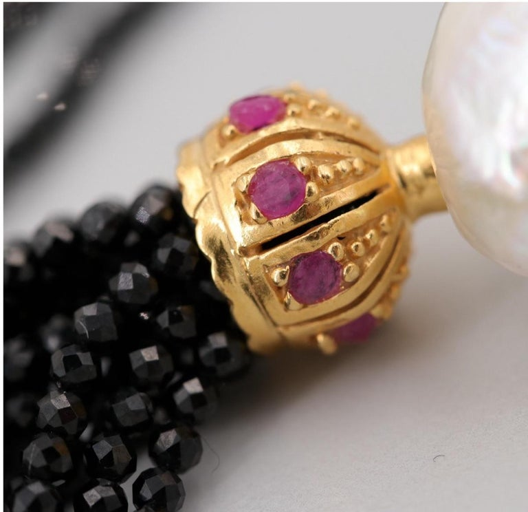Round Cut Gold on Sterling Silver Cultured Pearl, Ruby, Onyx Tassel Earrings For Sale