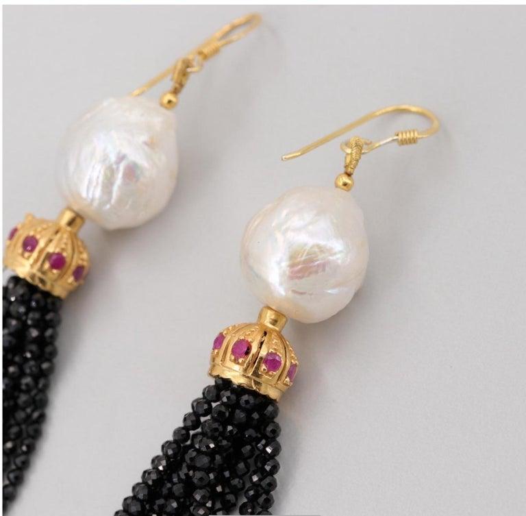 Women's Gold on Sterling Silver Cultured Pearl, Ruby, Onyx Tassel Earrings For Sale