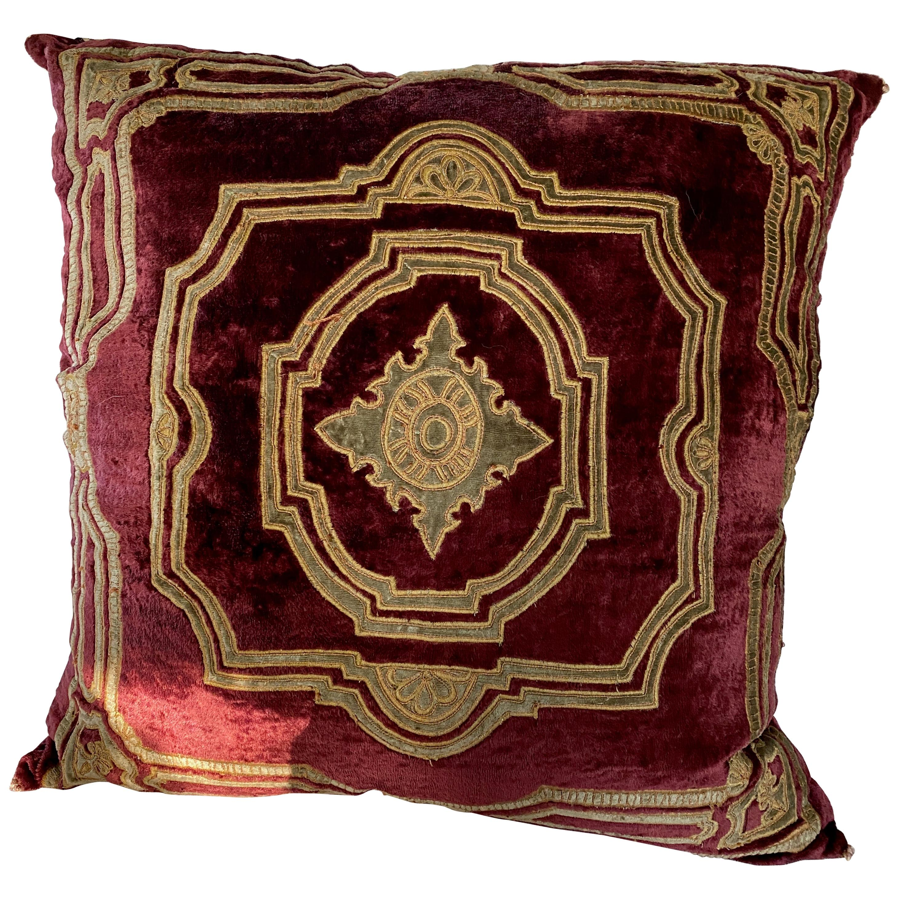 Gold on Velvet Embroidered Pillow, Down Filled