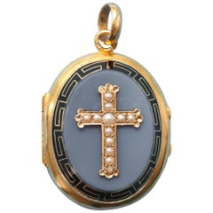 Gold, Onyx, Pearl and Black Enamel Cross Locket