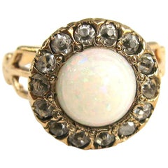 Gold Opal Diamond Halo Ring by Ostby & Barton