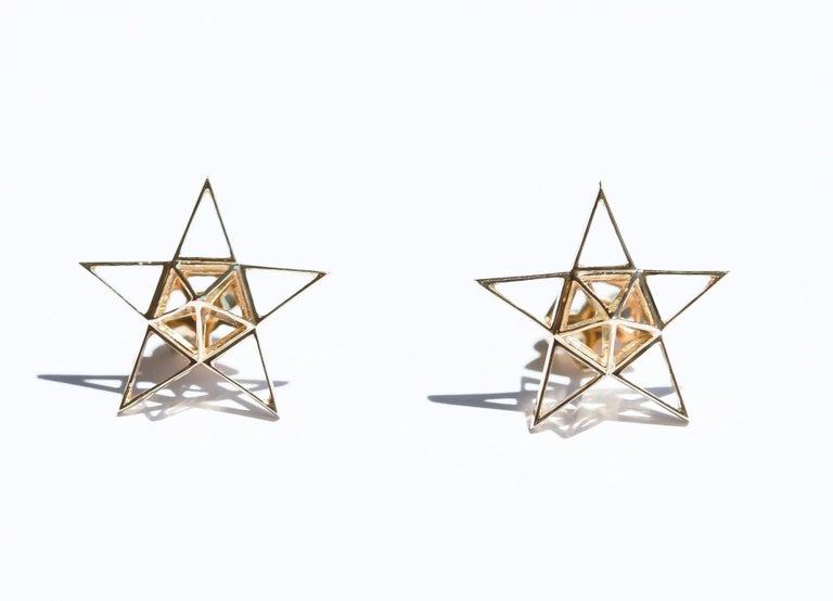 Gold Open Frame Star Earrings For Sale 2