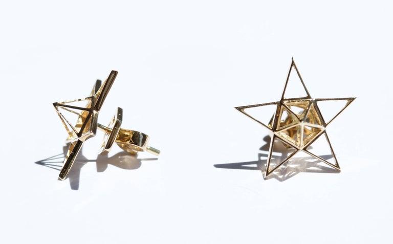 Gold Open Frame Star Earrings For Sale 3