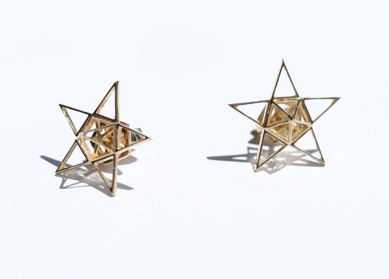 Gold Open Frame Star Earrings For Sale 4