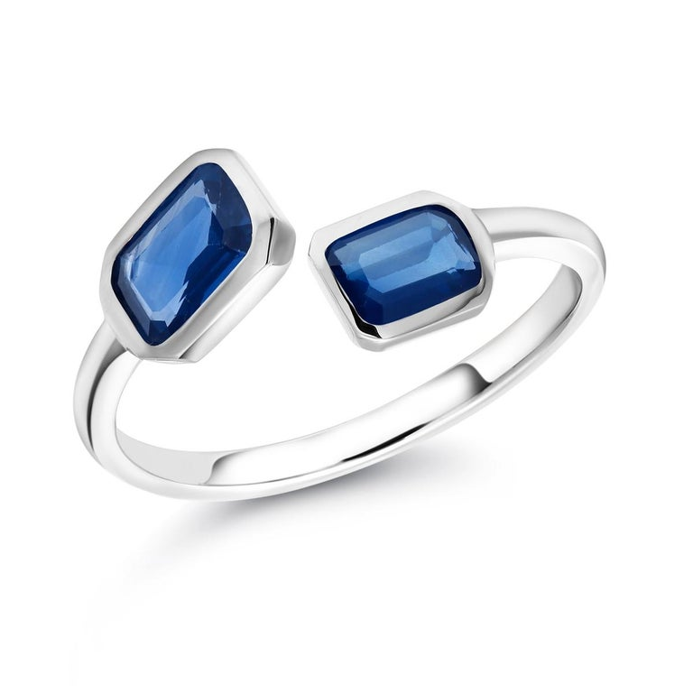 Gold Open Shank Cocktail Ring with Two Emerald Cut Sapphire Bezel Set For Sale 3
