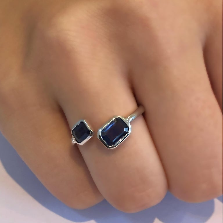 Gold Open Shank Cocktail Ring with Two Emerald Cut Sapphire Bezel Set For Sale 4