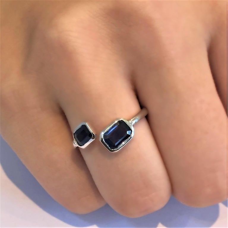 Contemporary Gold Open Shank Cocktail Ring with Two Emerald Cut Sapphire Bezel Set For Sale