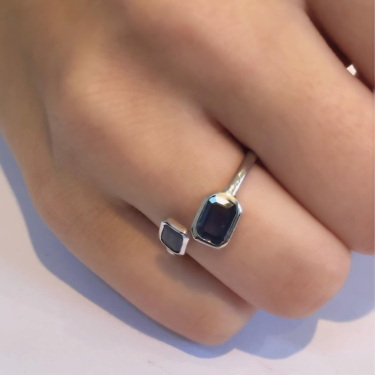 Gold Open Shank Cocktail Ring with Two Emerald Cut Sapphire Bezel Set In New Condition For Sale In New York, NY