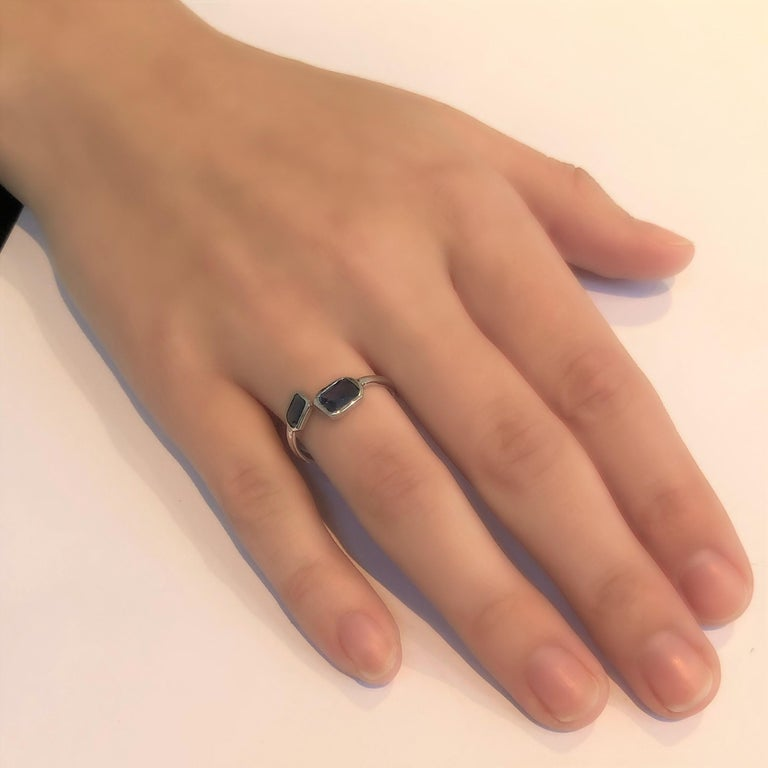 Women's Gold Open Shank Cocktail Ring with Two Emerald Cut Sapphire Bezel Set For Sale