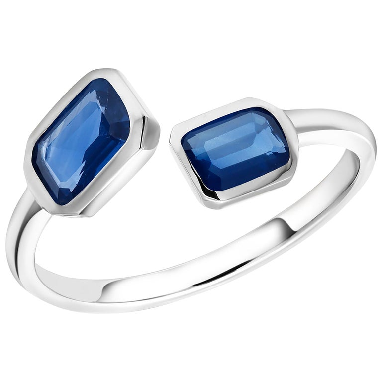 Gold Open Shank Cocktail Ring with Two Emerald Cut Sapphire Bezel Set For Sale