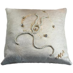 Gold Orchid Cushion, Made in Italy