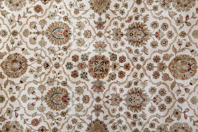 Sultanabad Gold Oriental Rug Handmade Persian Style Rugs, Cream Floral Living Room Rugs For Sale