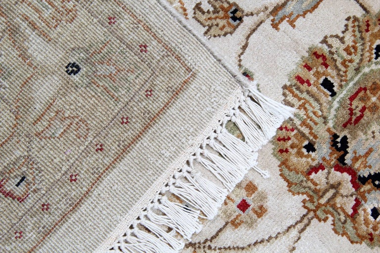 Afghan Gold Oriental Rug Handmade Persian Style Rugs, Cream Floral Living Room Rugs For Sale