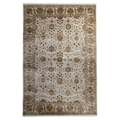 Gold Oriental Rug Handmade Persian Style Rugs, Cream Floral Living Room Rugs
