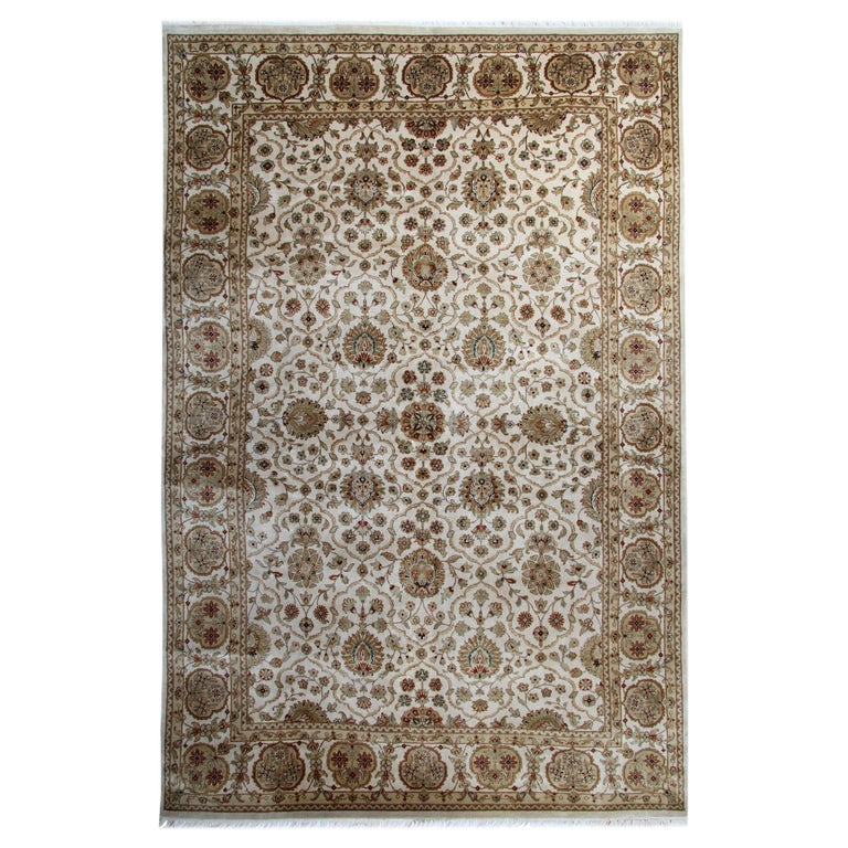 Gold Oriental Rug Handmade Persian Style Rugs, Cream Floral Living Room Rugs For Sale