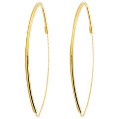 Gold Oval Hoop Earrings 14 Karat Yellow Gold Thin Oval Hoops